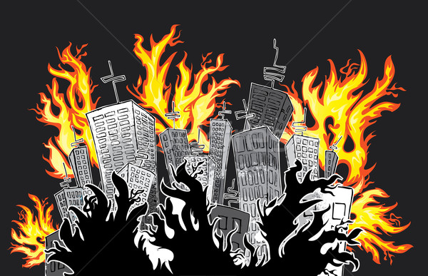 cartoon panel city in fire flames Stock photo © Zuzuan