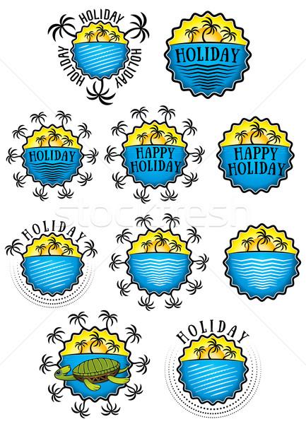 sun beach and palms holiday sticker illustration Stock photo © Zuzuan