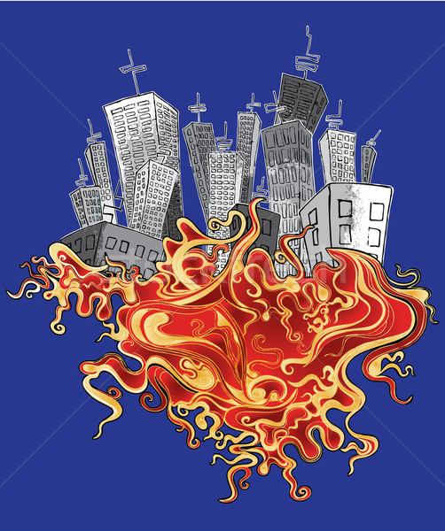 panel city organic fire element background  Stock photo © Zuzuan