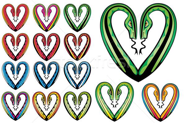 snake body silhouette heart shape symbol  Stock photo © Zuzuan
