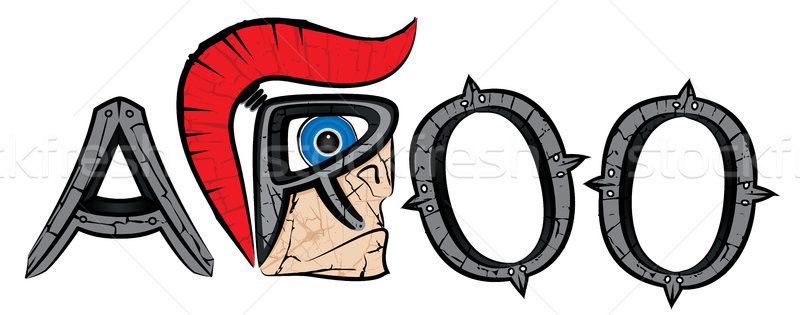 Stock photo: cartoon spartan warrior profile and metal letters illustration
