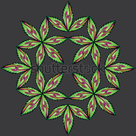 marijuana leaf symbol decorative floral stamps Stock photo © Zuzuan