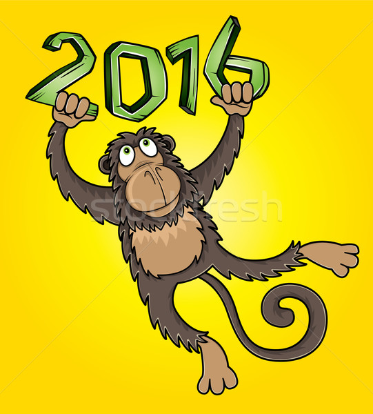 Photo stock: 2016 · année · singe · cartoon · illustration · forêt