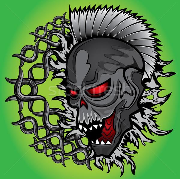 ストックフォト: 死んだ · ホラー · ゾンビ · 頭蓋骨 · 金属 · チェーン