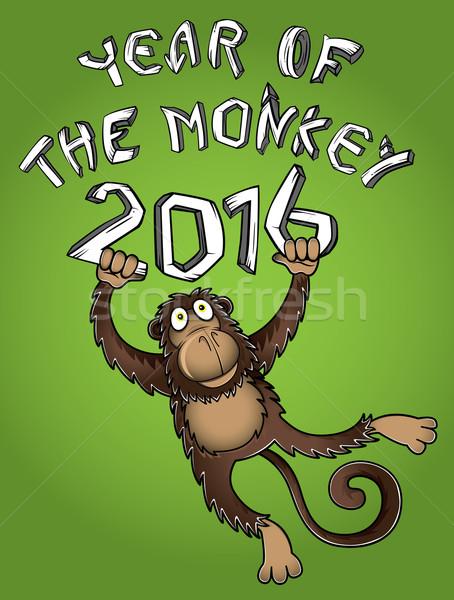 китайский год обезьяны иллюстрация стороны искусства Сток-фото © Zuzuan