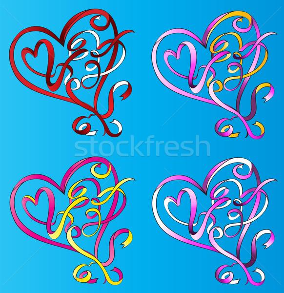 心臓の形態 リボン バレンタイン グラフィック 愛 色 ストックフォト © Zuzuan