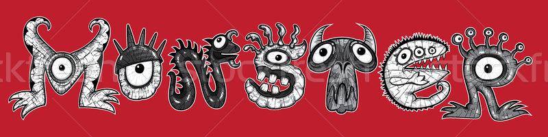 Monsters halloween cartoon tekst illustraties zwart wit Stockfoto © Zuzuan