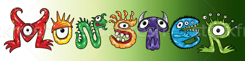 Monsters halloween cartoon tekst illustraties vrienden Stockfoto © Zuzuan
