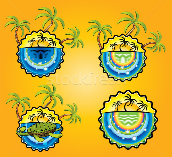 Soleil plage palmiers vacances vignette illustration Photo stock © Zuzuan