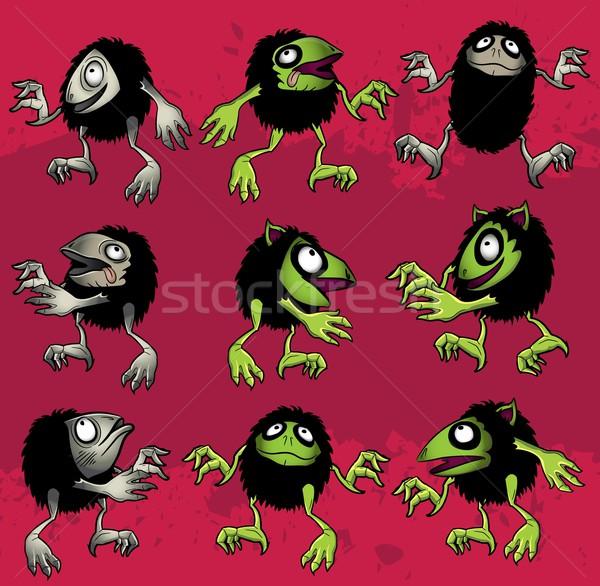Cartoon Хэллоуин волосатый Монстры маске зла Сток-фото © Zuzuan