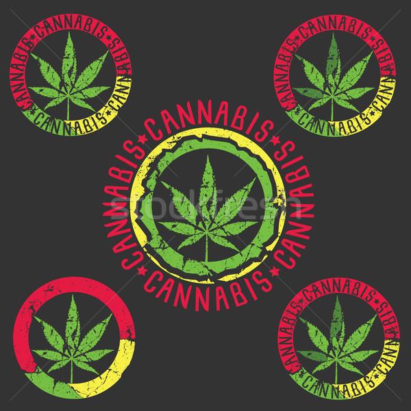 Marihuána cannabis koszos textúra terv bélyegek Stock fotó © Zuzuan