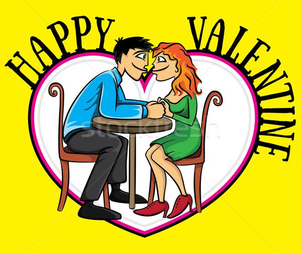 Dating Valentijn briefkaart glimlach liefde Stockfoto © Zuzuan