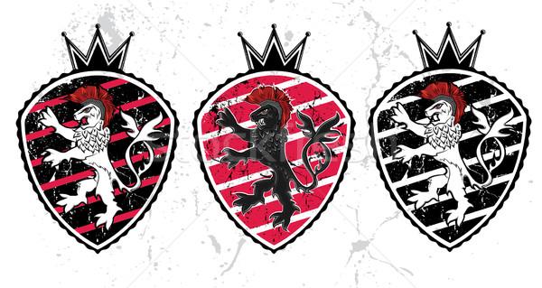 Oroszlán bestia sziluett királyi embléma terv Stock fotó © Zuzuan