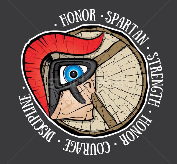 Spartanisch Krieger Profil Design Macht Kampf Stock foto © Zuzuan
