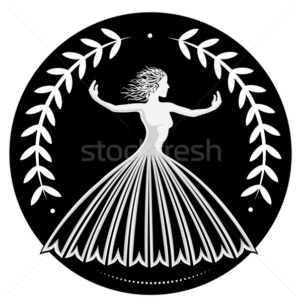 elegant graceful female figure silhouette with floral decoration Stock photo © Zuzuan