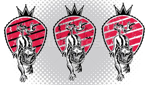 León bestia cabeza emblema sello ilustración Foto stock © Zuzuan
