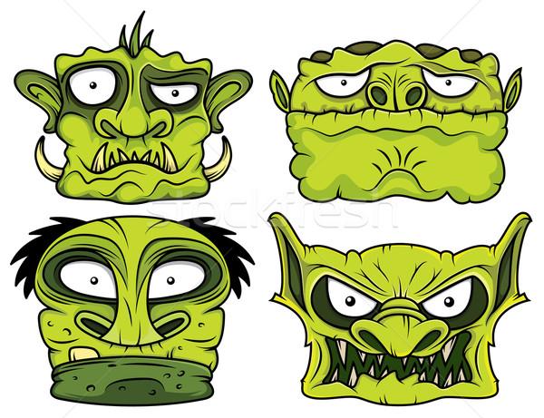 Halloween verde scary zombie testa illustrazione Foto d'archivio © Zuzuan