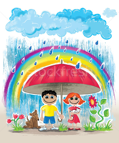 Esős nap gyerekek kiscica kutyakölyök rejtőzködik Stock fotó © Zuzuan