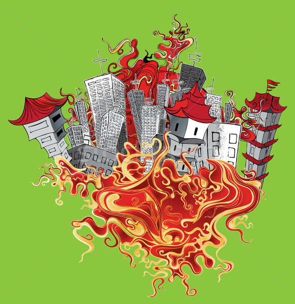 chinese city and panel city fire flames element background Stock photo © Zuzuan