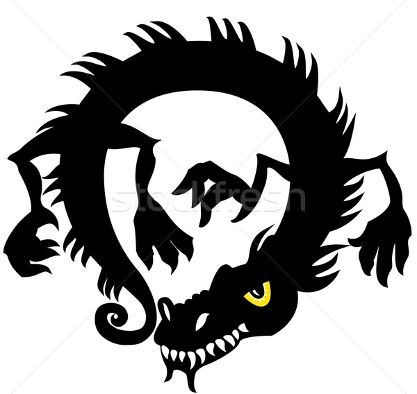 Китайский дракон силуэта дизайна иллюстрация искусства змеи Сток-фото © Zuzuan