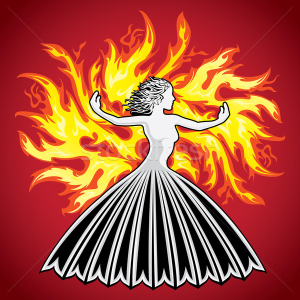 woman lady figure silhouette fire flames background Stock photo © Zuzuan