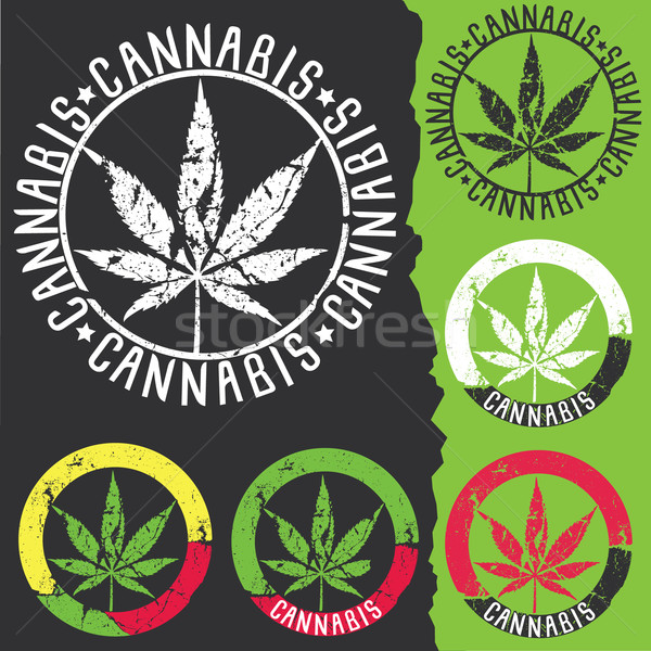 marijuana cannabis grungy texture design stamps Stock photo © Zuzuan