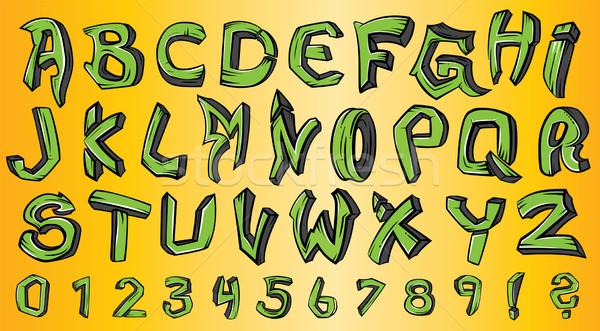 Straat graffiti stijl doopvont alfabet textuur Stockfoto © Zuzuan