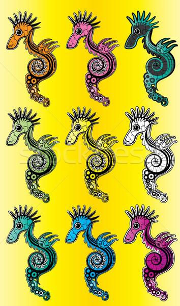 Cartoon gekleurd zee paard kunst Stockfoto © Zuzuan