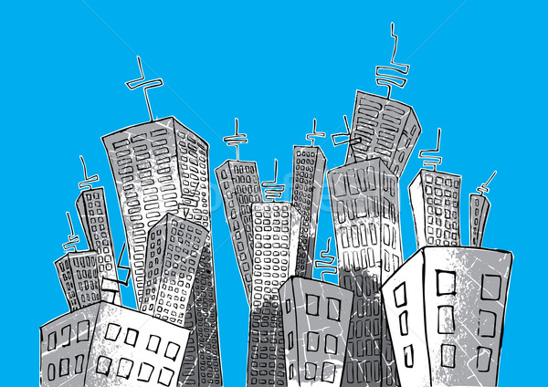 cartoon panel city suburb graphic Stock photo © Zuzuan