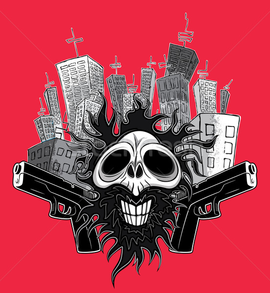 smiling dead zombie skull with guns and skycrapers city background Stock photo © Zuzuan