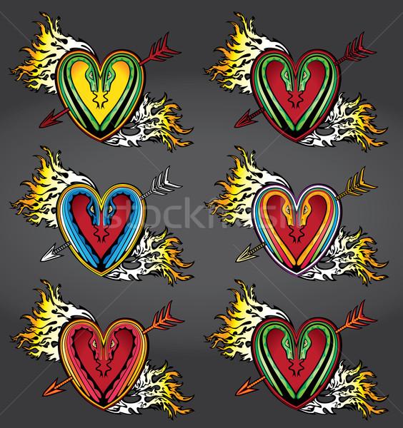 панк формы сердца татуировка огня пламя любви Сток-фото © Zuzuan