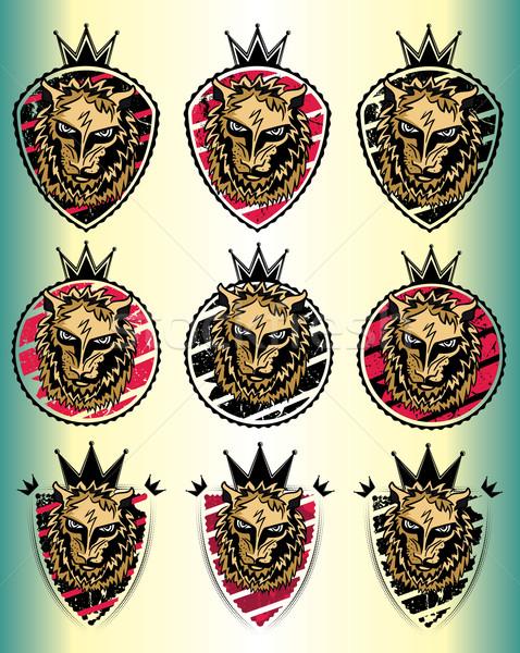 Leão besta cabeça emblema carimbo ilustração Foto stock © Zuzuan
