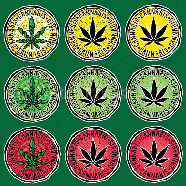 marijuana leaf symbol silhouette textured background stamps Stock photo © Zuzuan