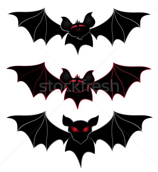 Geïsoleerd bat silhouet donkere scary grot Stockfoto © Zuzuan
