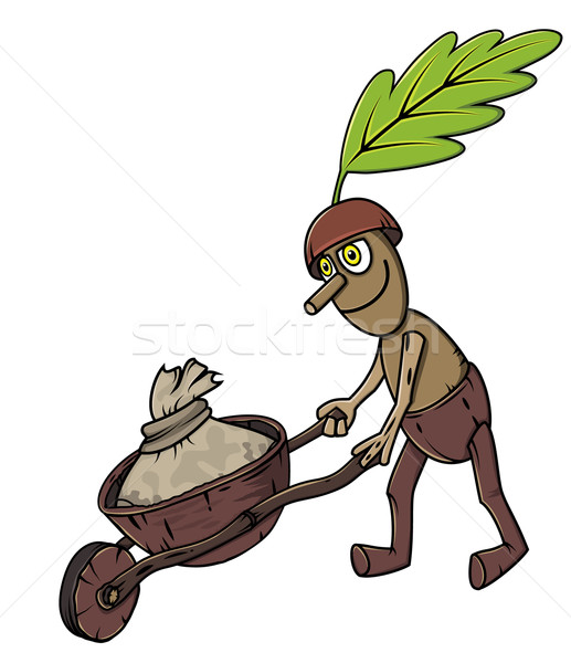 oak tree mascot pushing handcart  Stock photo © Zuzuan