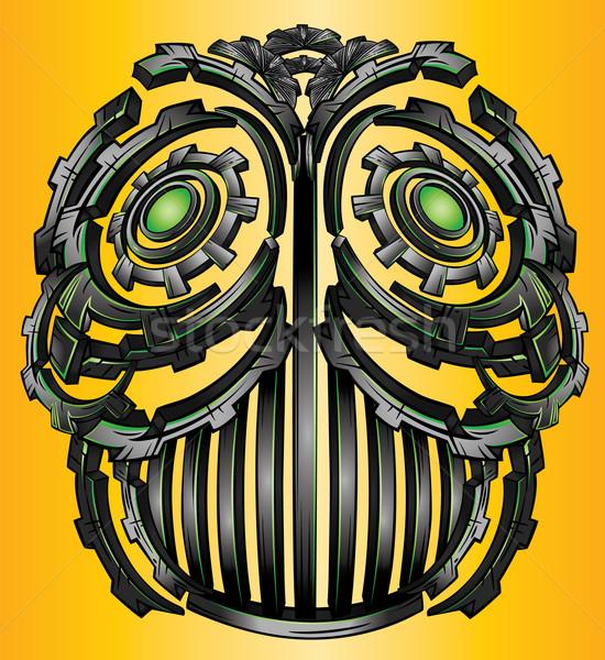 Cyber techno digital robot face design Stock photo © Zuzuan