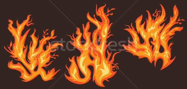 Brûlant feu flammes silhouette design texture Photo stock © Zuzuan