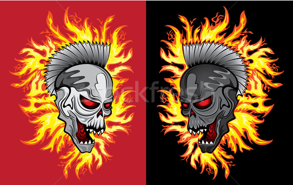 dead horror zombie skull fire flames background Stock photo © Zuzuan