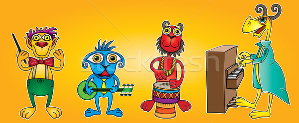 little animal friends band playing instruments Stock photo © Zuzuan