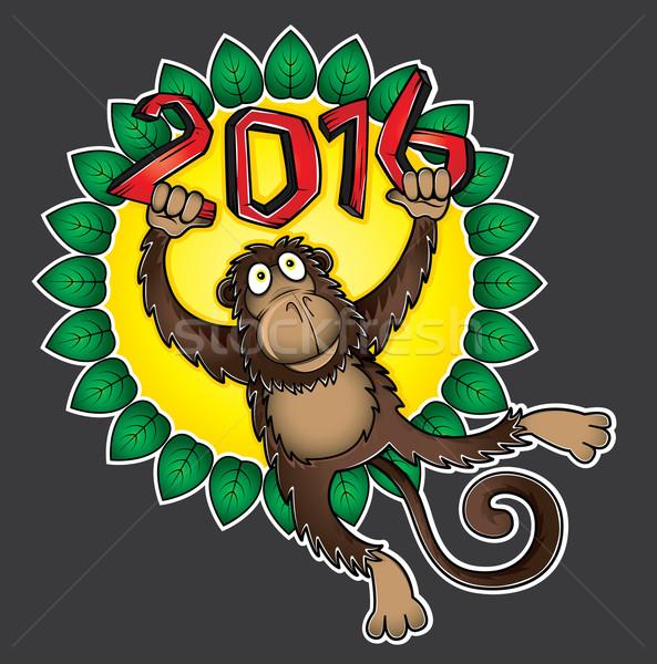 китайский зодиак обезьяны цветочный иллюстрация лес Сток-фото © Zuzuan