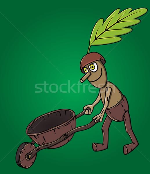 forest man oak leaf pushing wooden handcart Stock photo © Zuzuan