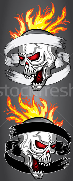 horror dead zombie skull fire flames old ribbon parchment Stock photo © Zuzuan