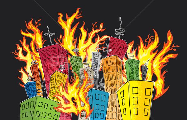 cartoon colored city of skyscrapers catching fire Stock photo © Zuzuan
