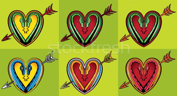 Forma de coração projeto serpente silhuetas seta abstrato Foto stock © Zuzuan