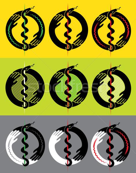 Médicos serpiente silueta diseno ilustración manos Foto stock © Zuzuan
