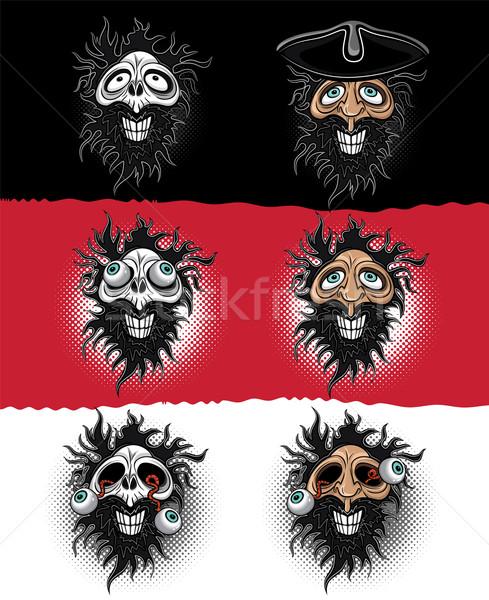 Хэллоуин пиратских зомби череп иллюстрация улыбка Сток-фото © Zuzuan