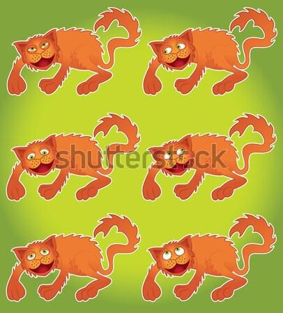 Cartoon kat spelen natuur grappig spelen Stockfoto © Zuzuan