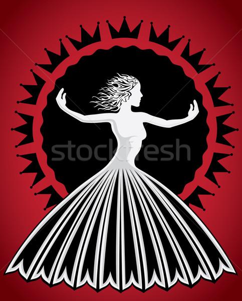 Photo stock: Femme · chiffre · silhouette · décoratif · fleur · texture