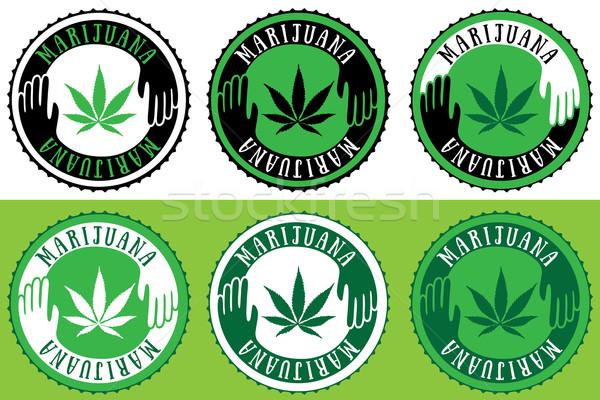 Marihuána cannabis levél matricák orvosi bélyeg Stock fotó © Zuzuan
