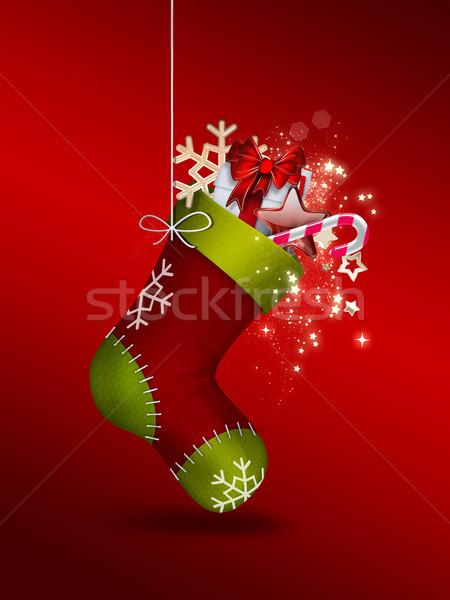 Christmas sok geschenken ontwerp vak patroon Stockfoto © zven0